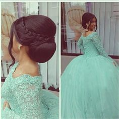 Hot Sale Green Lace Appliqued Evening Dresses Ball Gowns Full Long Sleeve Evening Gowns http://fancytemplestore.com