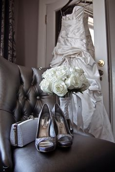 The shoes, purse, bouquet AND dress, all in one shot. Talent.