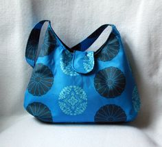 Blue Hobo Bag - Amy Butler Pressed Flowers Hobo Purse by BarefootBagShop on Etsy
