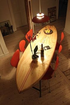 Surfboard dinner table Surf's up bitches Surfboard Table, Surfboard Decor, Surfboard Storage, Surf Decor, Surf Style Decor, Dinner Table, Home Furnishings, Home Furniture, Woodworking Furniture