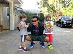 Charlie Sheen with twins Bob and Max!