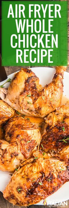 Air fryer whole chicken can be used in so many different ways! Make this recipe with butter, garlic, onion, and a delicious blend of spices. #AirFryerWholeChicken #WholeChicken #ChickenRecipe Air Fryer Recipes Easy, Fun Easy Recipes, Real Food Recipes, Candy Recipes, Delicious Recipes, Recipe Using Chicken, Chicken Recipes, Fast Easy Meals, Frugal Meals