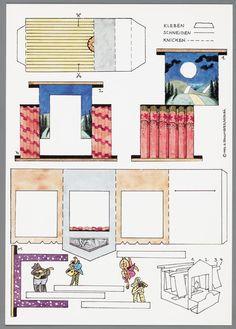 Bouwplaat van een papierentheater voorstellende een proscenium, decors en muzikanten