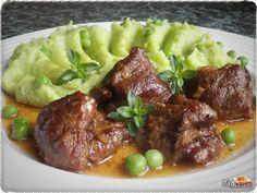 Pečené vepřové líčka se bramborovo-hráškovým pyré | recept | RadVarim.sk Beef, Food, Meat, Essen, Meals, Yemek, Eten, Steak