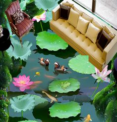 Floor Murals, Wall Murals, Dove House, 3d Flooring, Lotus Pond, Home Aquarium, Epoxy Floor, Removable Wall, Floral Wall