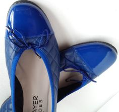 Paul Mayer Attitudes Sz 8.5 Blue Quilted Patent Leather Toe Flats  Excel. Cond.