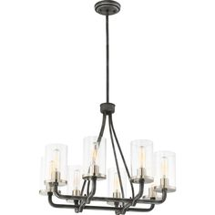 Filament Design 8-Light Iron Black Chandelier with Clear Glass Shade