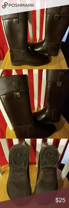 Banana Republic rain boots Very nice new condition.  Rubber and faux leather. Gold buckle. Banana Republic Shoes Winter & Rain Boots
