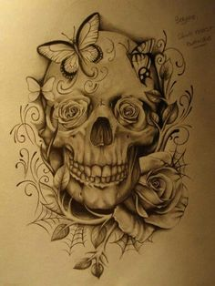 skull with no butter flies. Maybe peonies flowers in the eyes.