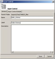 reports enter input control name