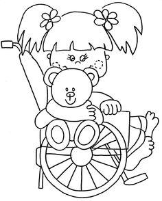 Resultado de imagem para desenhos de cadeirantes para colorir