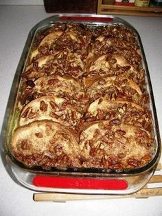 For Christmas am. Paula Deen's praline french toast casserole - make the night before - super simple and yum! Christmas morning breakfast!