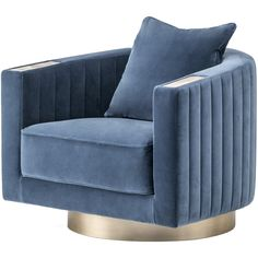 Arcahorn Velvet Armchair (€7.245) ❤ liked on Polyvore featuring home, furniture, chairs, accent chairs, blue, square arm chair, blue velvet chair, blue accent chair, blue velvet armchair and velvet chair