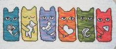 """""""Cat Dreams"""" is the title of this cross stitch pattern from Meredith Downs - do you think cats dream and in color?"""