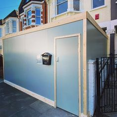 Bespoke wooden construction hoarding designed and built for for a new project in Fulham. Fulham, Bespoke, Garage Doors, Creativity, Construction, Building, Outdoor Decor, Projects, Design