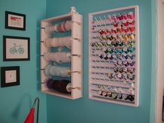 Crafty Intentions - Lucky lady had her hubster make her this great thread rack.