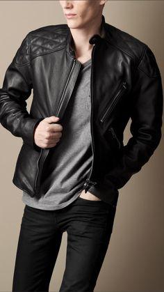 Quilt Detail Leather Biker Jacket | Burberry