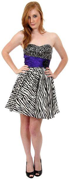 Strapless Sequined Zebra Print Short Cocktail Dress