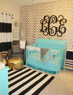 Aqua, Gold and Black Nursery - super-chic gold chevron accent wall!