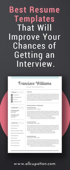 Best resume templates that will improve your chances of getting an interview. | #interview #resume #template #cvtemplate #job | visit www.allcupation.com for more