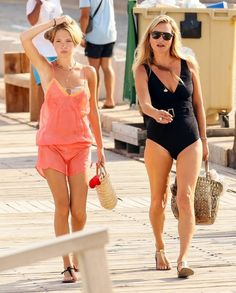 Kate Moss and Lila Moss Kate Moss, Lila Moss, Georgia May Jagger, Blue Face Mask, Lucky Ladies, Nude Sandals, Australian Models, Black Swimsuit, Model Agency