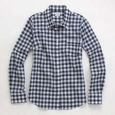JCrew Factory Classic Plaid Button-Down in Blue