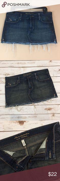 "Abercrombie & Fitch Denim Skirt Abercrombie & Fitch Denim Skirt. Raw hemline. Waist laying flat 17""/ length 12.5"". Abercrombie & Fitch Skirts"