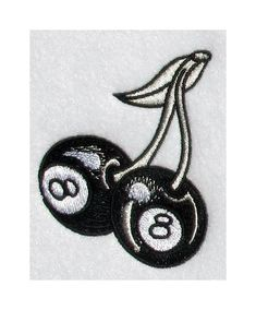 Eight Ball Cherry Tattoo Iron On Patch Rockabilly by poofhawk