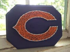 Chicago Bears String Art on Wood by BlossomsNKnots on Etsy