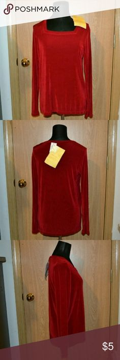 NWT! QVC citiknits red blouse size small Smoke free home!   Brand new! Retails for $32++ A gorgeous red QVC style woman's long sleeved blouse size small.  This top will go perfect with some jeans and heels! Measurements Length 14 in shoulders 14 1/2 in across waist 35 in sleeve 23 in.  INVENTORY BLUSAS B BIN Citiknits Tops Blouses