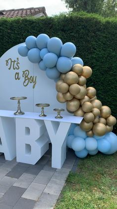 Deco Baby Shower, Baby Shower Backdrop, Boy Baby Shower Themes, Baby Shower Balloons, Baby Shower Gender Reveal, Baby Shower Parties, Baby Shower Gifts, Baby Shower For Boys, Baby Boy Shower Decorations