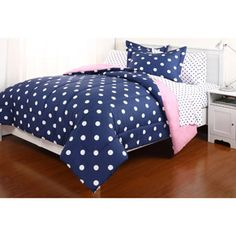 Blue & White Polka Dot Reversible Girls Queen Comforter Set Piece Bed In A Bag) by Teen Bedding