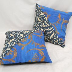 Vintage Blues designer fabric cushions by RECOVERTEAM on Etsy
