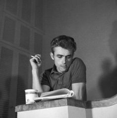 James Dean Studying Lines During a Coffee Break
