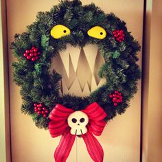 Just finished my nightmare before Christmas inspired wreath! Nightmare Before Christmas Wreath, Christmas Time, Christmas Wreaths, Christmas Decorations, Holiday Decor, Halloween Magic, Diy Wreath, Yule, Pagan