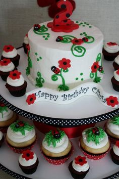 Jenn, can you get a price on this for me please???!  xo  Lady Bug Birthday Cake... like the cup cakes too