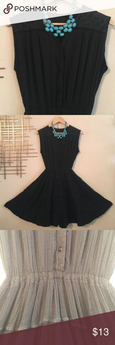 """Vintage Black stretchy flowy hippie boho Dress Cute and simple black flowy stretchy waist dress. Measurements as follows: 16"""" underarm to underarm, waist 10"""" unstretched to 20"""" stretched, shoulder to hem 37"""" no lables on Dress. Due to nature of fabric has some pulls but nothing terribly noticeable - as dress is very flowy. This little doll still has life left to give! Pair with a bold statement jewelry and sandals and you'll have the perfect traveling outfit. Vintage Dresses"""
