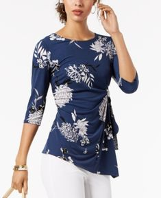 Alfani Printed Side-Tie Top, Created for Macy's - Blue XS Stylish Tops, Polished Look, Business Attire, Floral Tops, Women Wear, Dresses For Work, Clothes For Women, Printed, Outfits