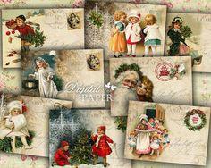 Christmas Greeting  digital collage sheet  set by bydigitalpaper, $4.45