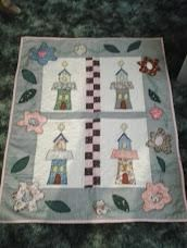 My Little Churches Lap quilt wall hanging H176 $29.99