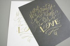 gray invitations with gold calligraphy
