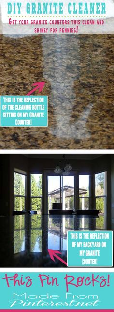 This is the BEST #DIY #Granite #Cleaner I have ever used! Best part, it cost PENNIES to make! You will never go back to commercial granite cleaners again!