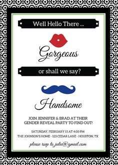 Effectively Hiya There Beautiful.or shall we embrace Good-looking! Cute lips and mustache themed gender reveal celebration invitation. Baby Shower Gender Reveal, Baby Gender, Baby Baby, Cute Baby Announcements, Gender Reveal Party Invitations, Gender Party, Baby Bundles, Baby Shower Printables, Reveal Parties