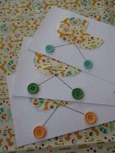 Homemade baby shower invitations. These would be cute if you made bobby pins with buttons on the end of them, so the invitations would actually be a gift as well :) Just a thought...