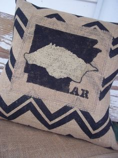 Chevron Arkansas Razorback Burlap Pillow Cover Hogs University of Arkansas Hand Painted College Football Baseball Basketball