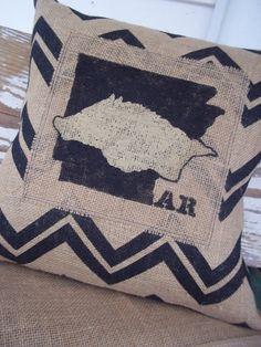 Chevron Arkansas Razorback Burlap Pillow Cover Hogs University of Arkansas Hand Painted College Football Baseball Basketball