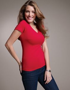 Perfectly Simple V-Neck Short Sleeve Tee by Pepperberry. (Concept US clothing manufactures... A t-shirt I WILL NOT need an undershirt for!!!!) <3 exciting!!!!