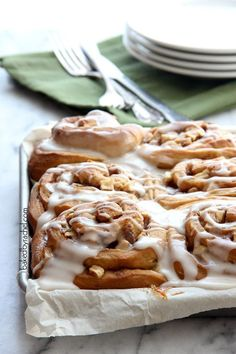 Overnight Apple Gingerbread Cinnamon Rolls Recipe from bakedbyrachel.com The perfect holiday breakfast!
