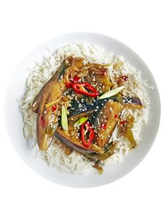 2548Quick, easy and healthy vegetarian stir-fry. Baby aubergines cook in minutes and soak up the flavour of mirin to make a fast and filling midweek meal. Serve with rice on the side.