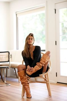 Cognac Boots Outfit, Tall Boots Outfit, Dress With Boots, Women's Boots, Free People Boots, Over The Knee Boot Outfit, Knee High Boots, Boots And Leggings, High Leather Boots